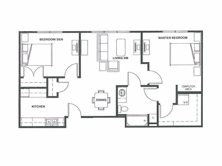 Homestead Two-bedroom Suite Floor Plan